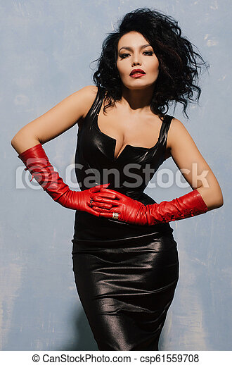 Ladies leather gloves fetish