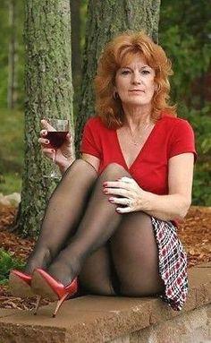 Women wearing red thong and pantyhose
