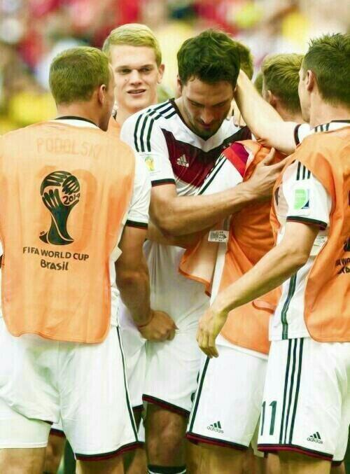 Soccer players grabbing bulge