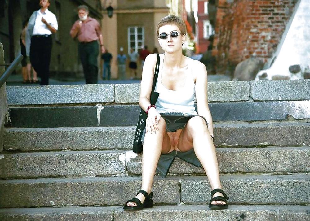 Amateur public upskirt no panties