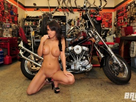 Naked girls on bicycles and motorcycles