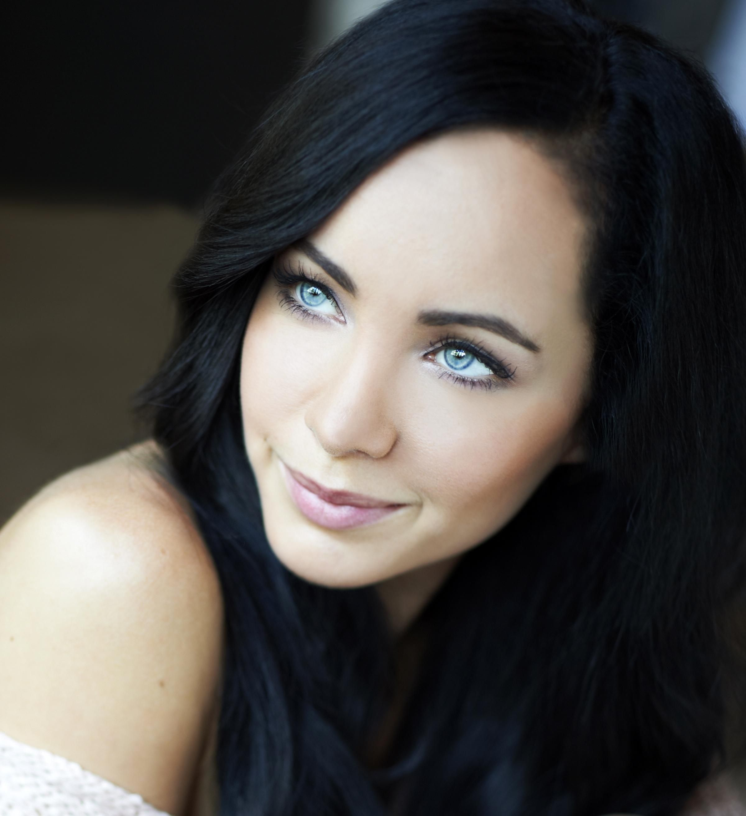 Black hair blue eyes girl