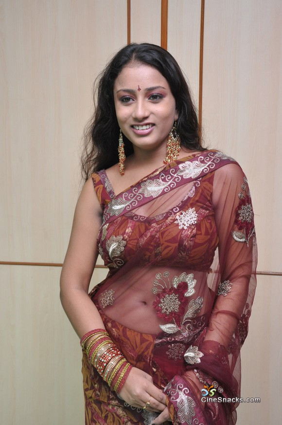 Sexy boob with transparent sari