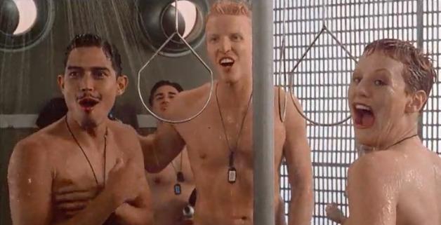 Nude group shower movie scene