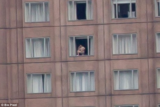 Caught hotel window naked man