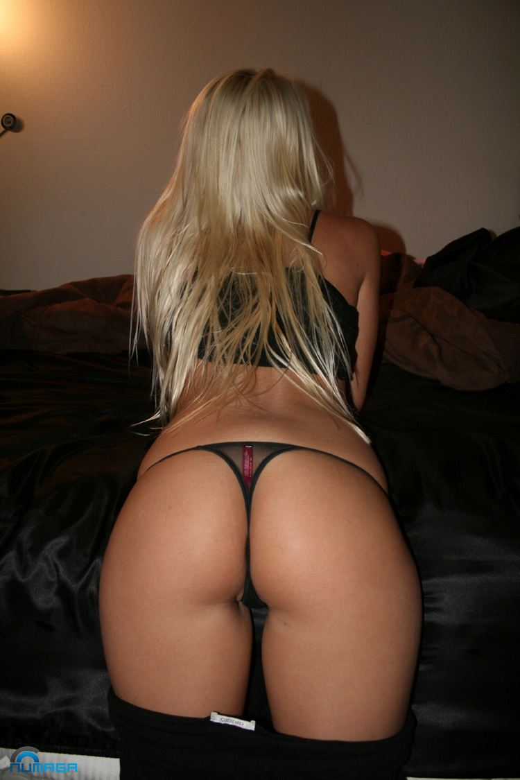 Sexy thong bent over bed