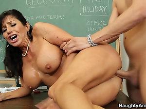 Mature woman teaching boy sex