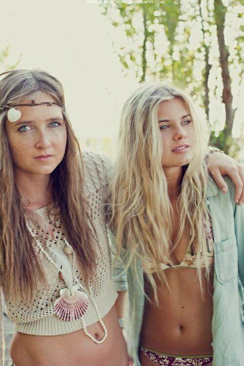 Beautiful blonde hippie girls