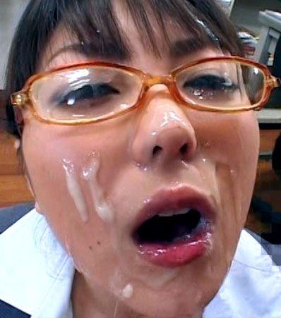 Glasses cum facial bukkake