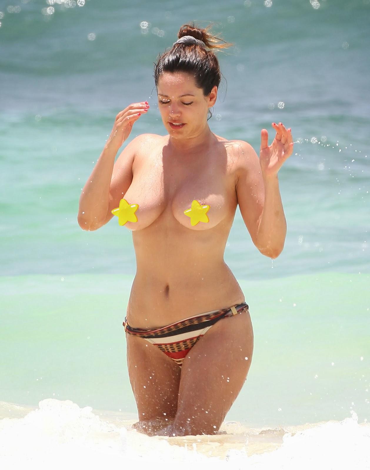 Naked celebrity in beach