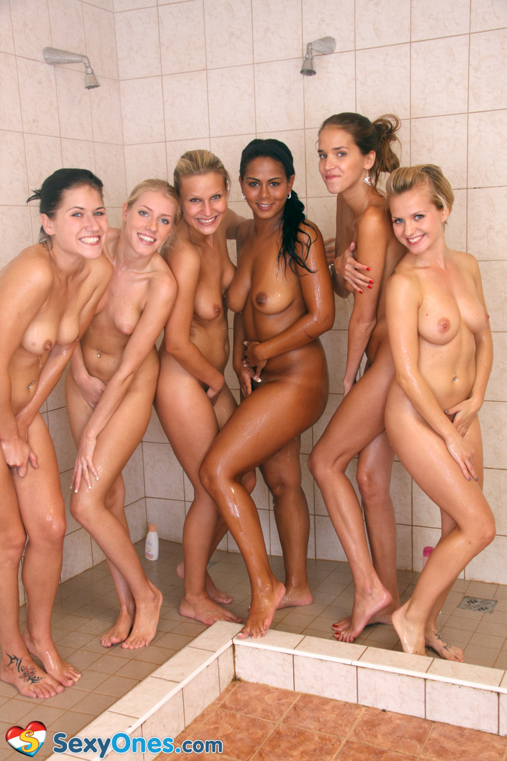 Nude group shower movie scene