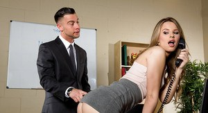 Naked woman at work secretary