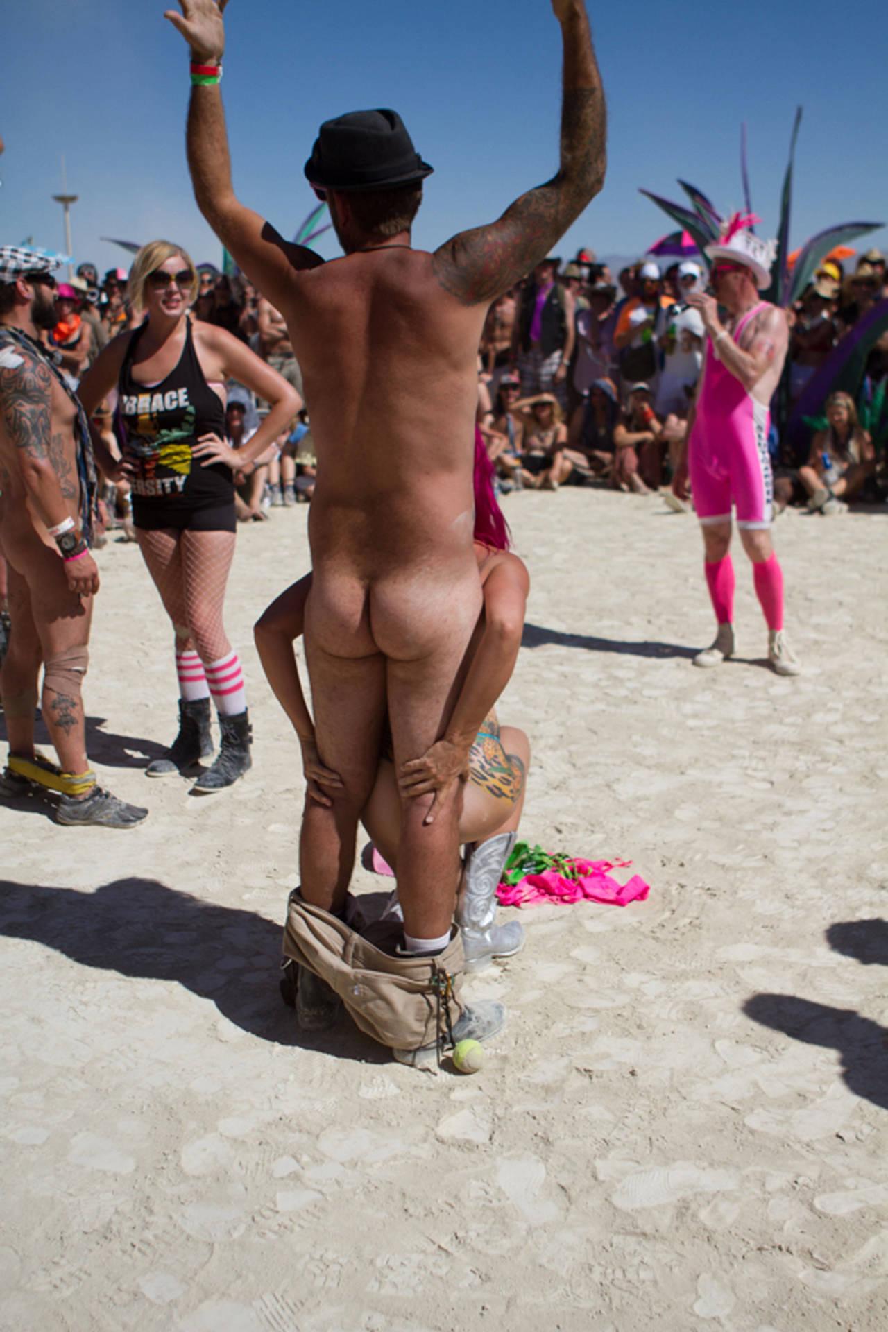At burning man nude in public