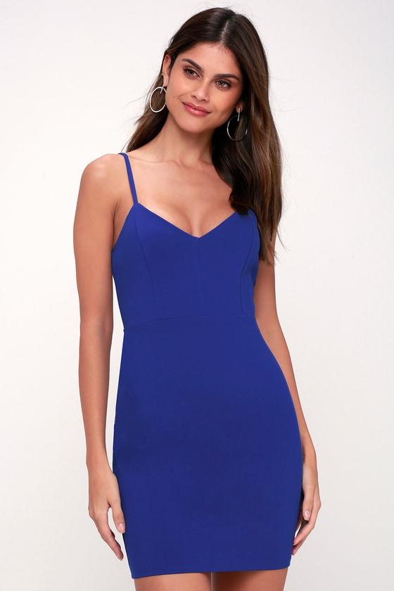 Sexy royal blue cocktail dress