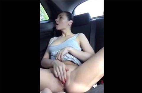 Girl fingering pussy public