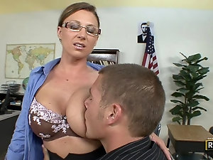 Mature woman teaching boy sex