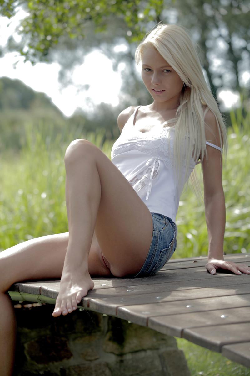 Blonde spread legs skirt