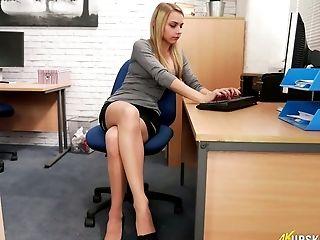 Hot upskirt office blondes