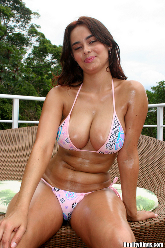 Brazilian beach babe big boob
