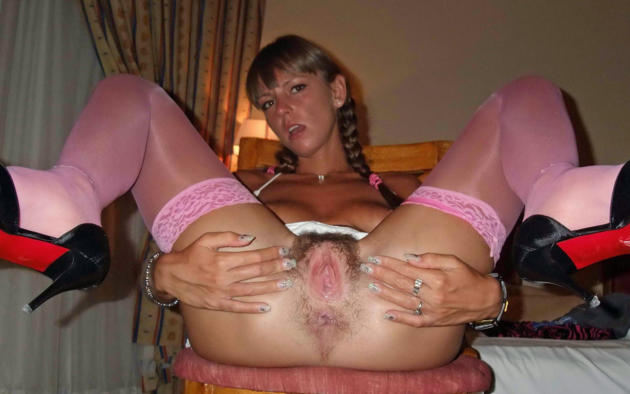 Pink hairy pussy spread