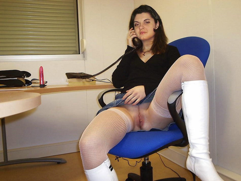 Naked woman at work secretary