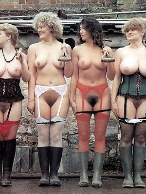 Vintage retro nude mature women