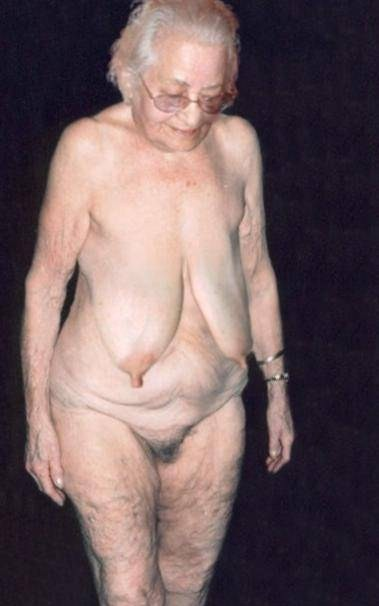 Nude very old saggy granny tits