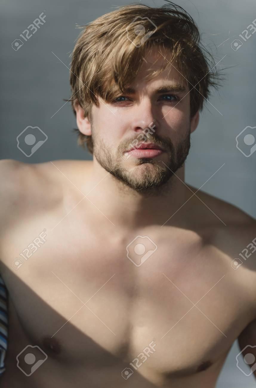 Naked blonde man with beard