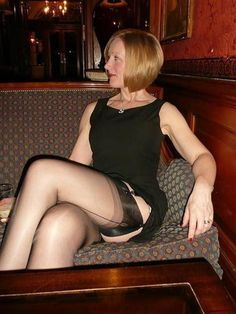 Flashing nylons pussy at party