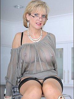 Mature see through blouse shelf bra