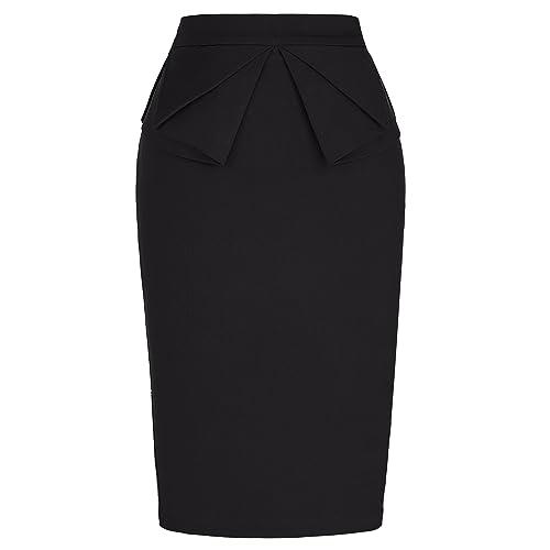 Black straight skirts for women