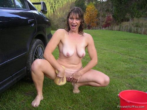 Car wife naked outside