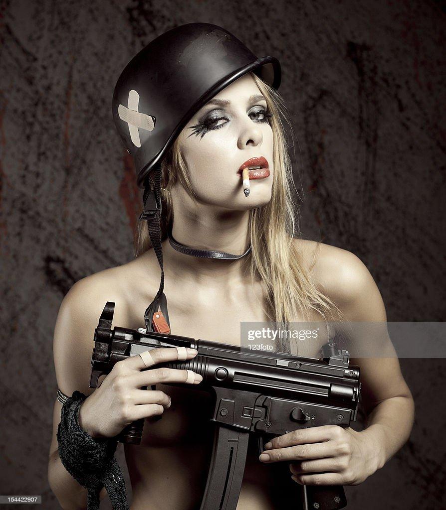 Nude women and guns
