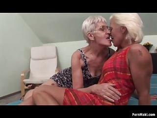 Lesbians having sex with granny