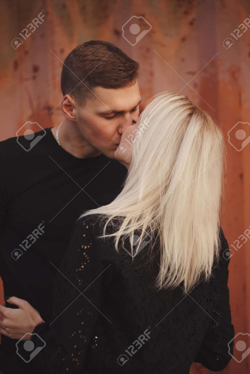 Beautiful blonde teens kiss
