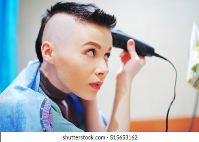 Girl head shaved smooth