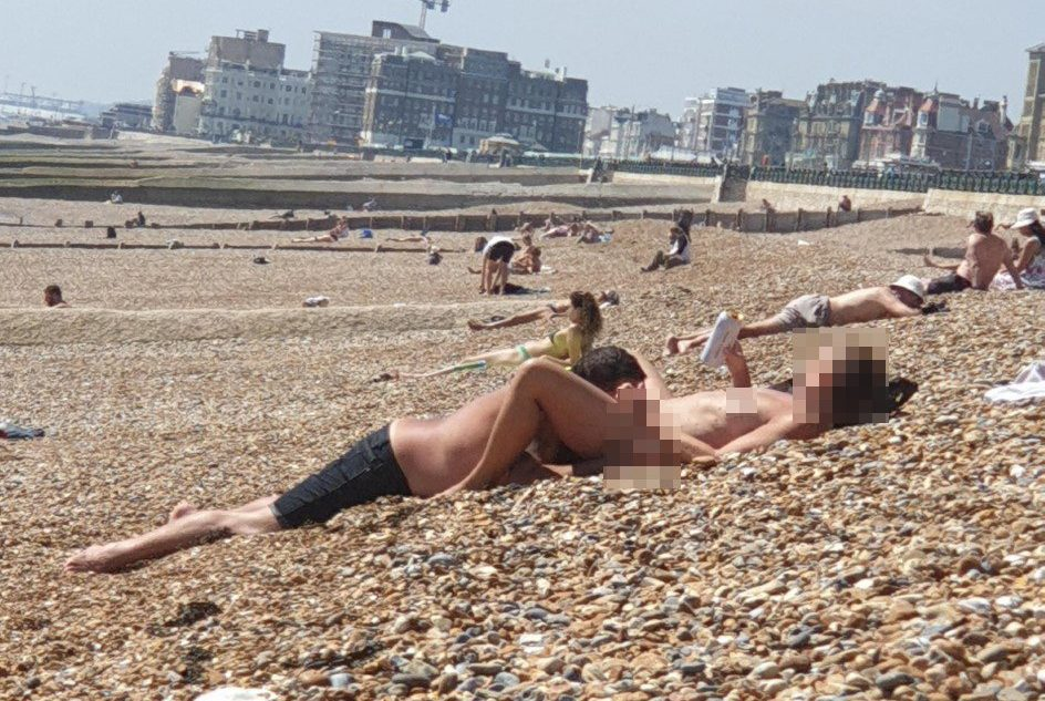 Naked families on the beach