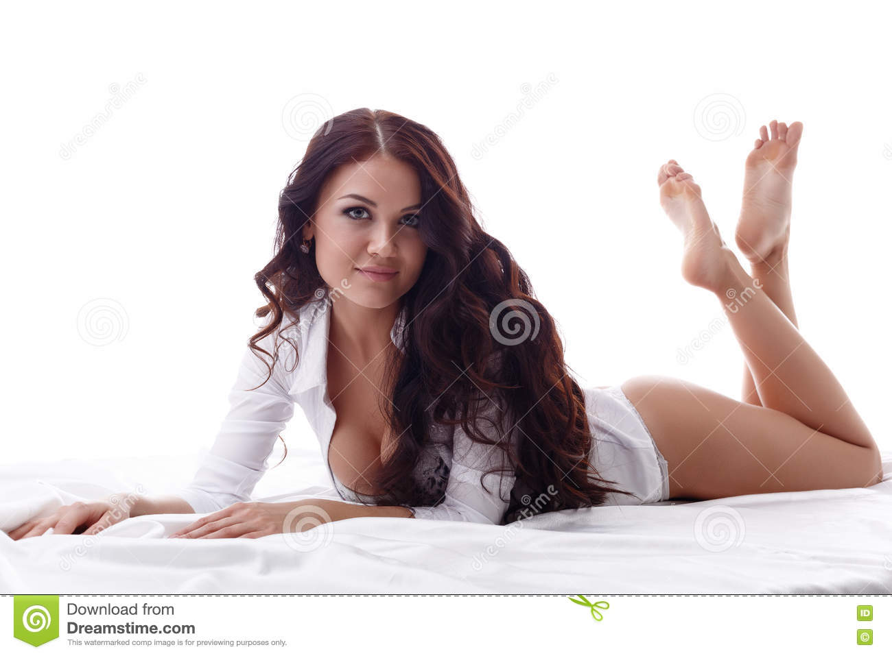 Sexy brunette getting ready for bed