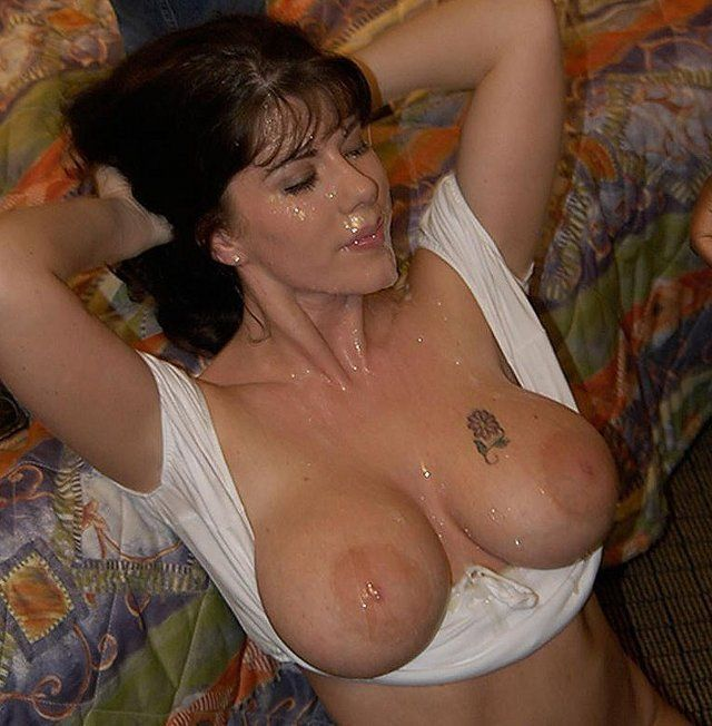 Big tits bukkake drenched