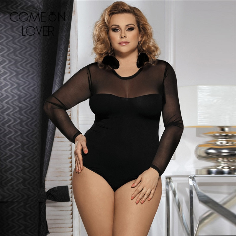 Plus size sheer lingerie teddy