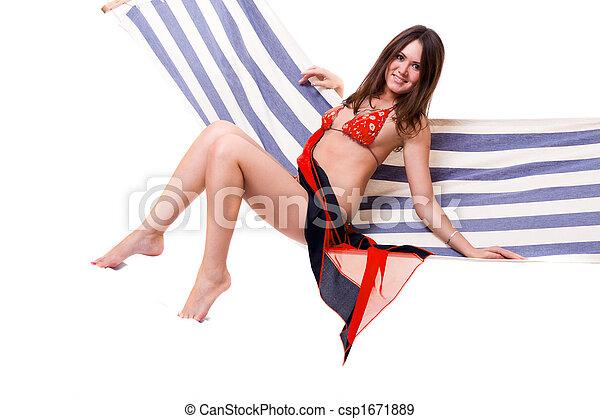 Girl in red bikini in hamhock
