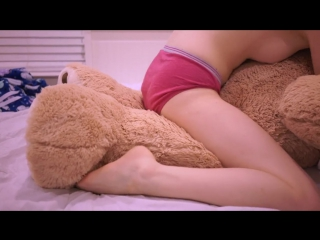 Teen girl humping teddy bear