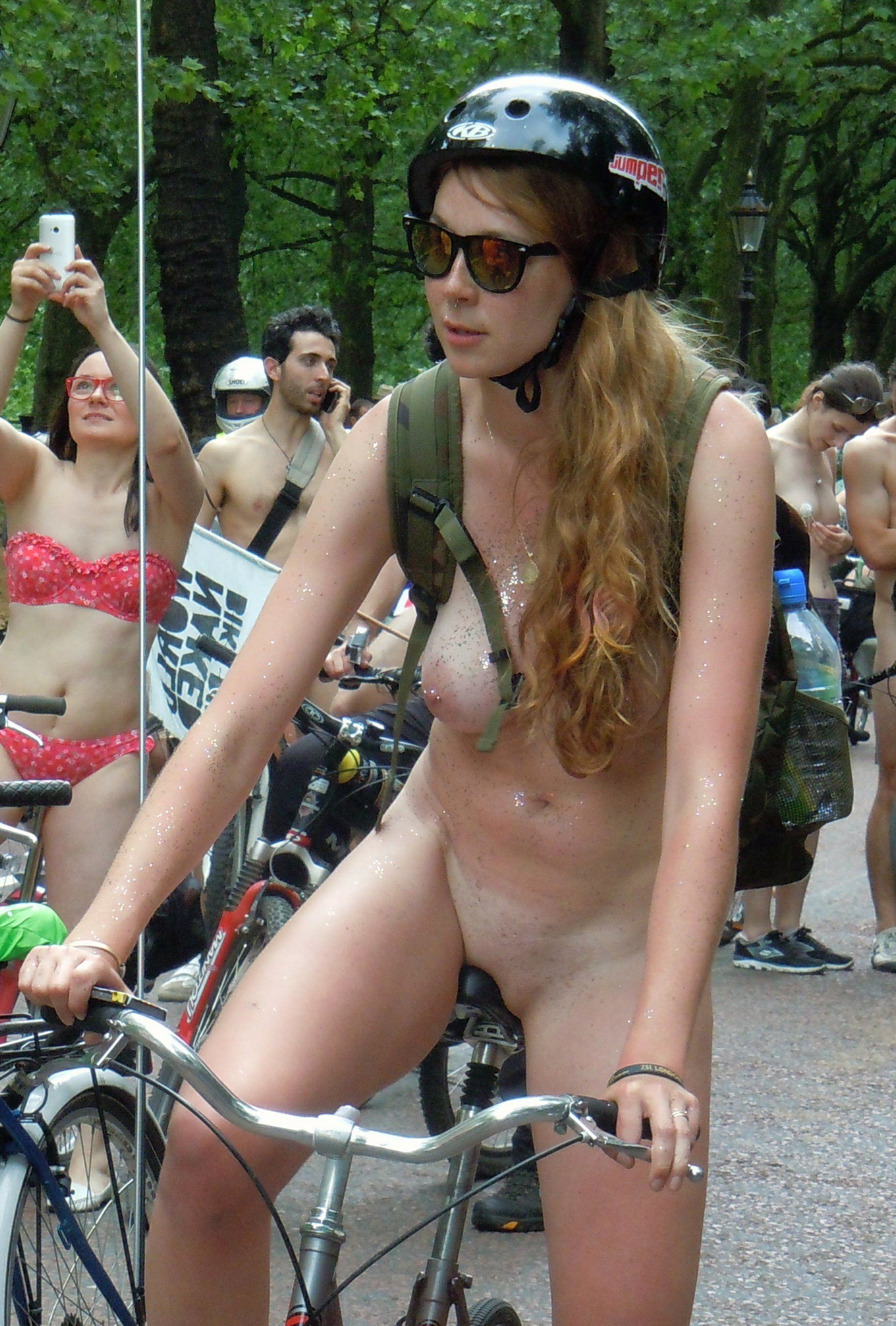 Naked ladies riding bicycles