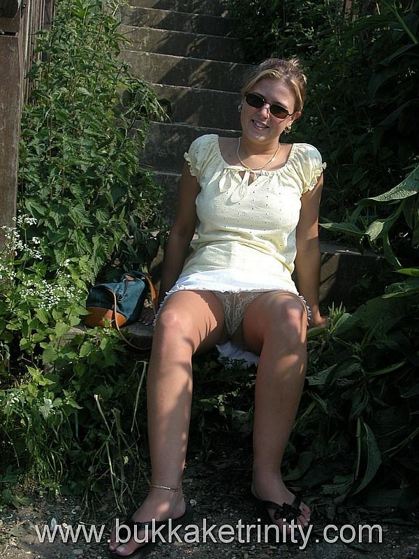 Sexy wife public bukkake