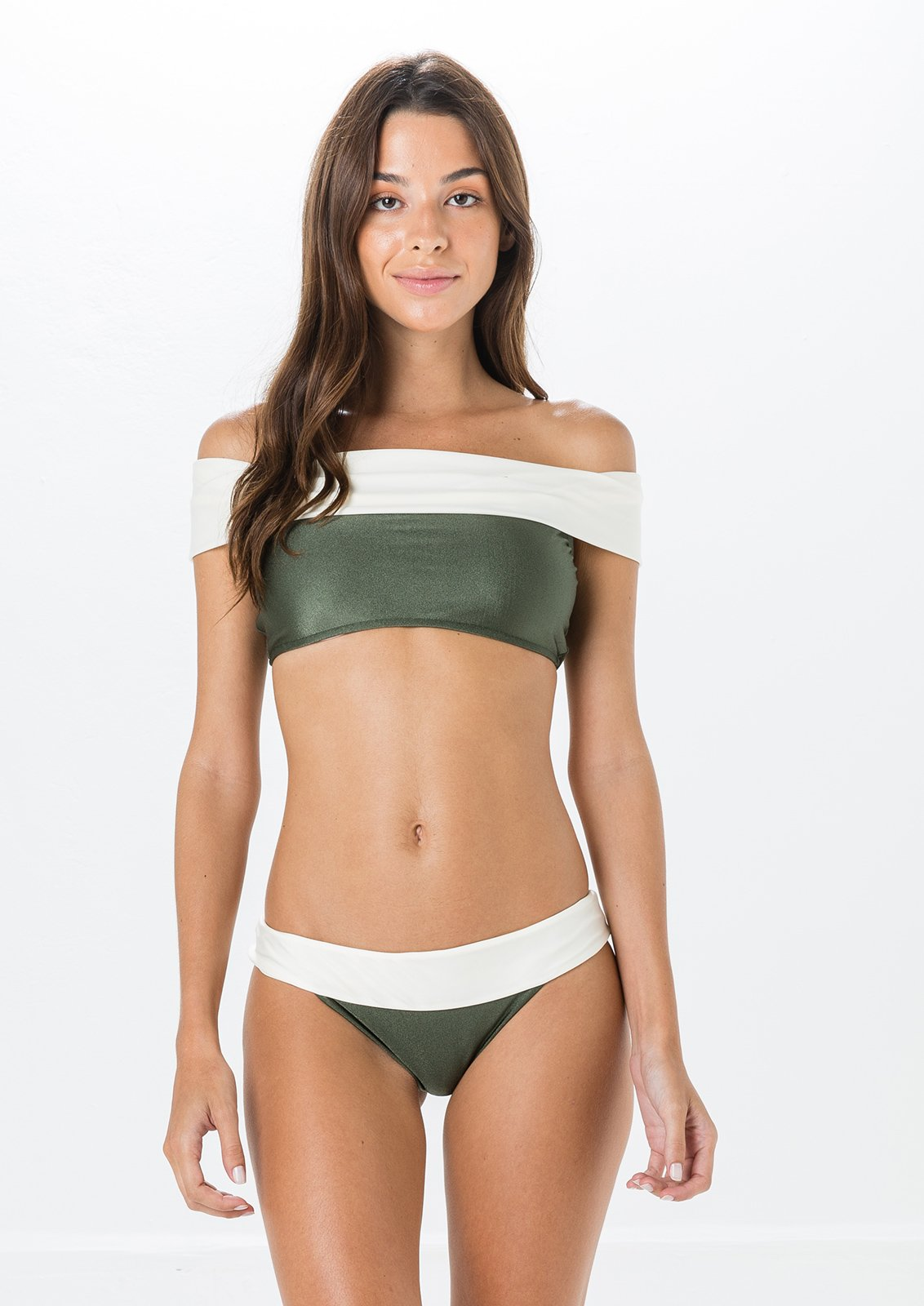 Green and white bikini