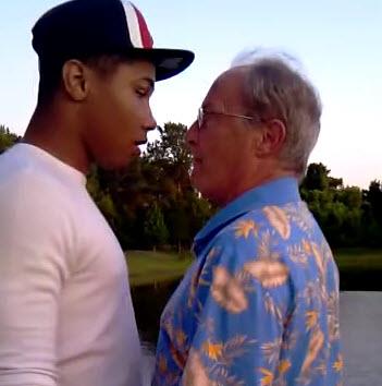 Old man and teen boy