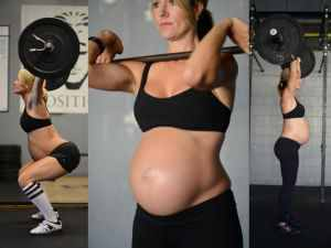 Pregnant mom lifting weights