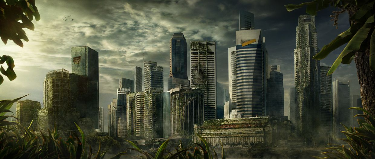 Post apocalyptic destroyed city
