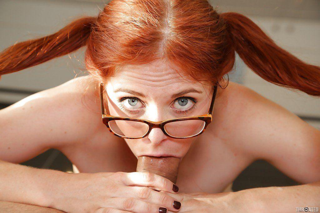 Wife with glasses gives deep throat