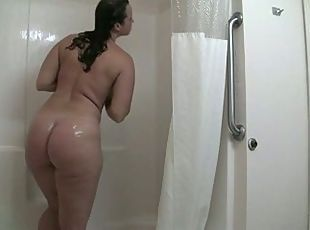 Mature mom in shower tube